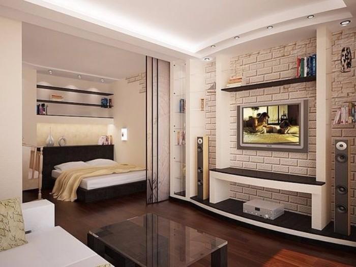 Белый кирпич в интерьере спальне, фото 18