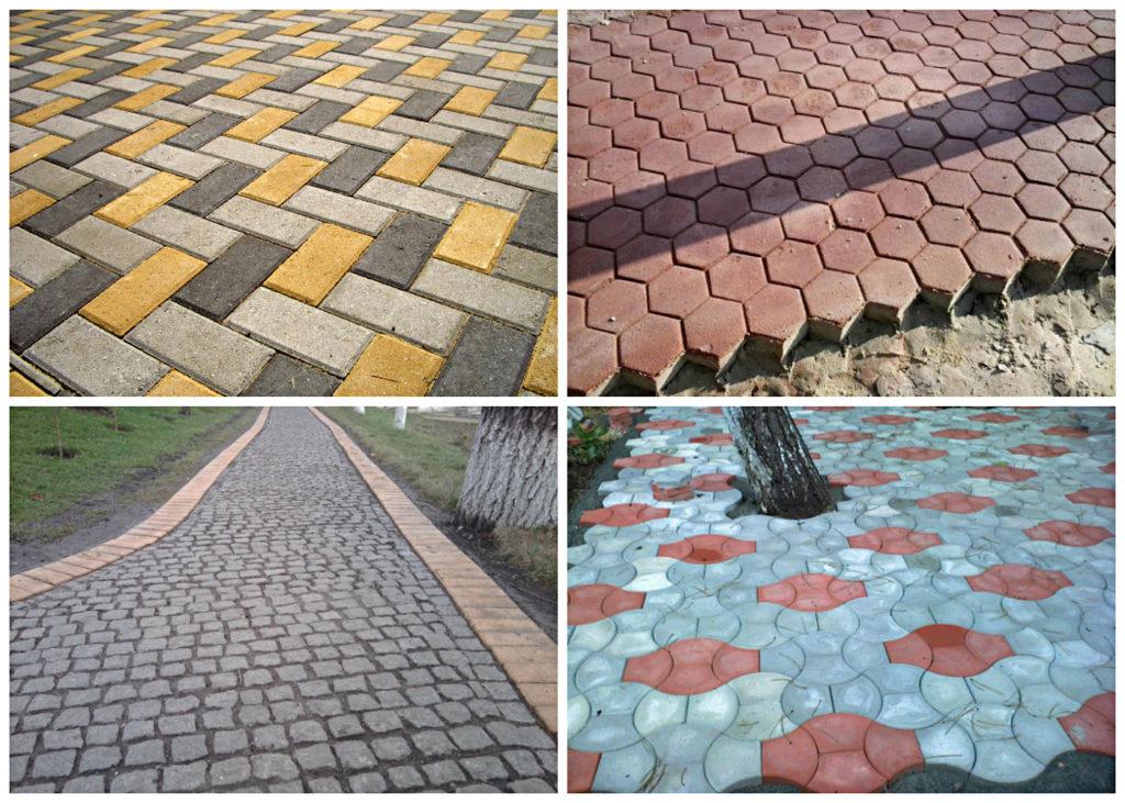 виды уложенной тротуарной плитки