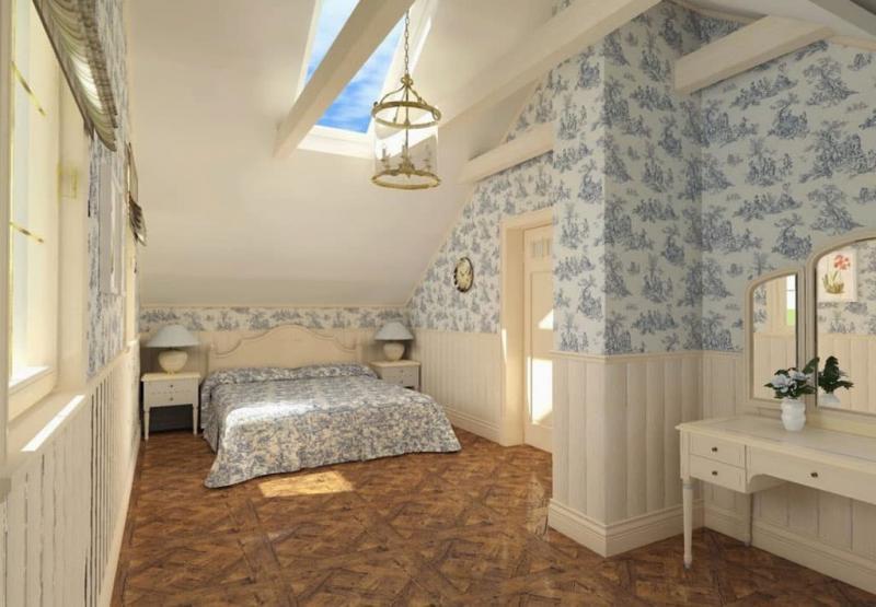 Отделка стен в спальне прованс 8