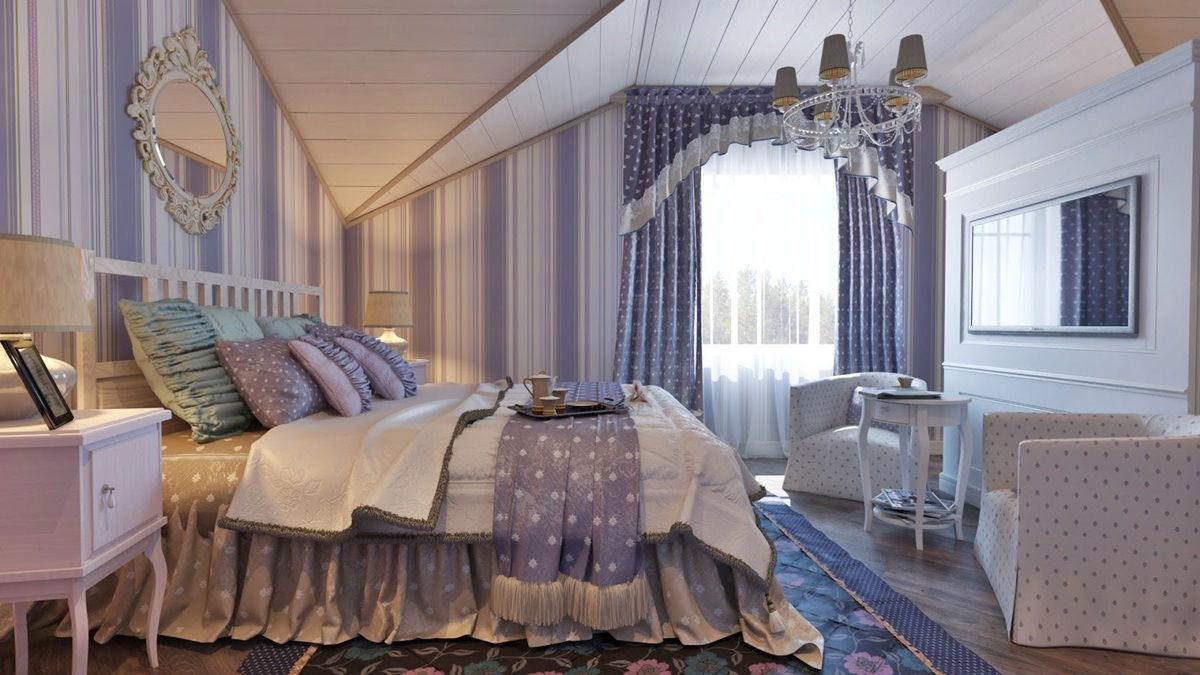 Спальня в стиле прованс в лавандовом цвете