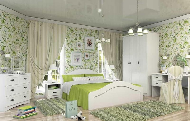 Прованские оттенки в спальне (зеленый)