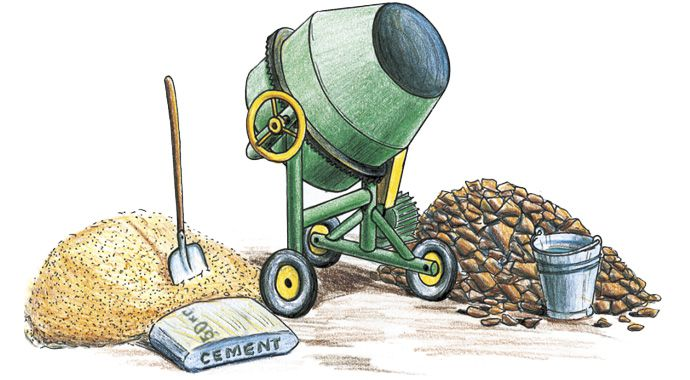 Цемент, песок и щебенка