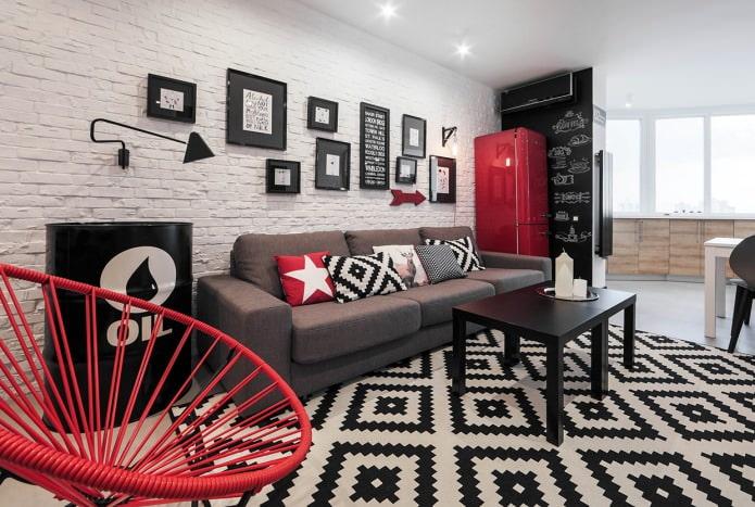 стена из кирпича в интерьере гостиной