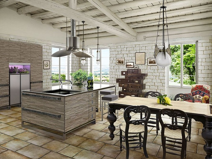 Белая кирпичная стена на кухне, фото 21