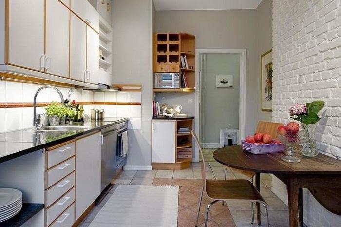 Белая кирпичная стена на кухне, фото 27