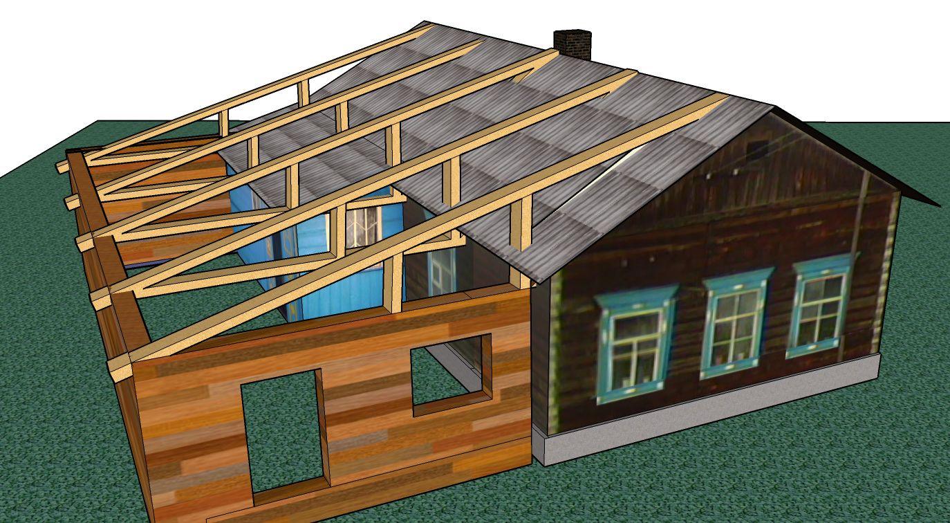 Продление крыши для подведение пристройки под кровлю