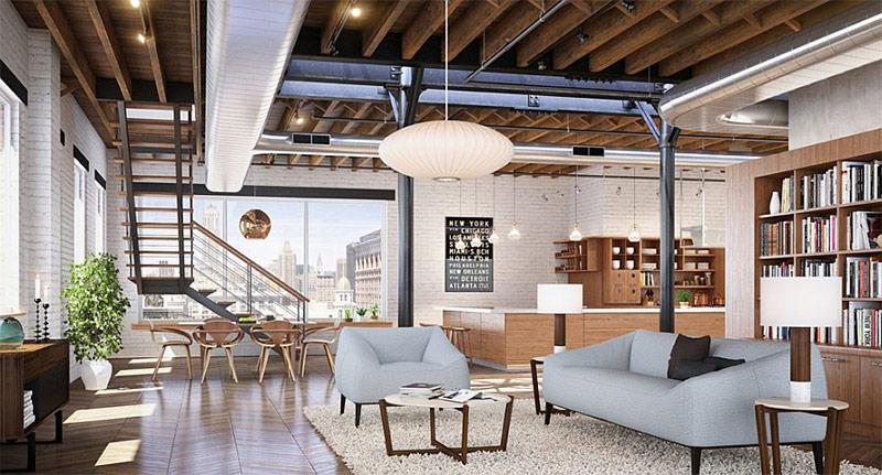 Трудно себе представить индустриальный стиль, без кирпичной стены и дерева (дизайн от Studio D+FORM)