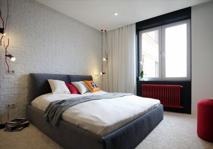 белый кирпич в интерьере спальни