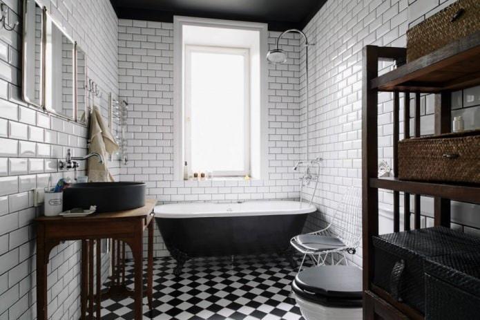 плитка под белый кирпич в интерьере ванной комнаты