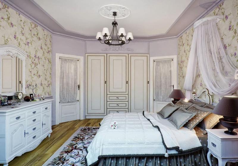 Оформление потолка в прованской спальне 2