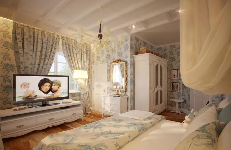 Спальня в стиле прованс в частном доме 5