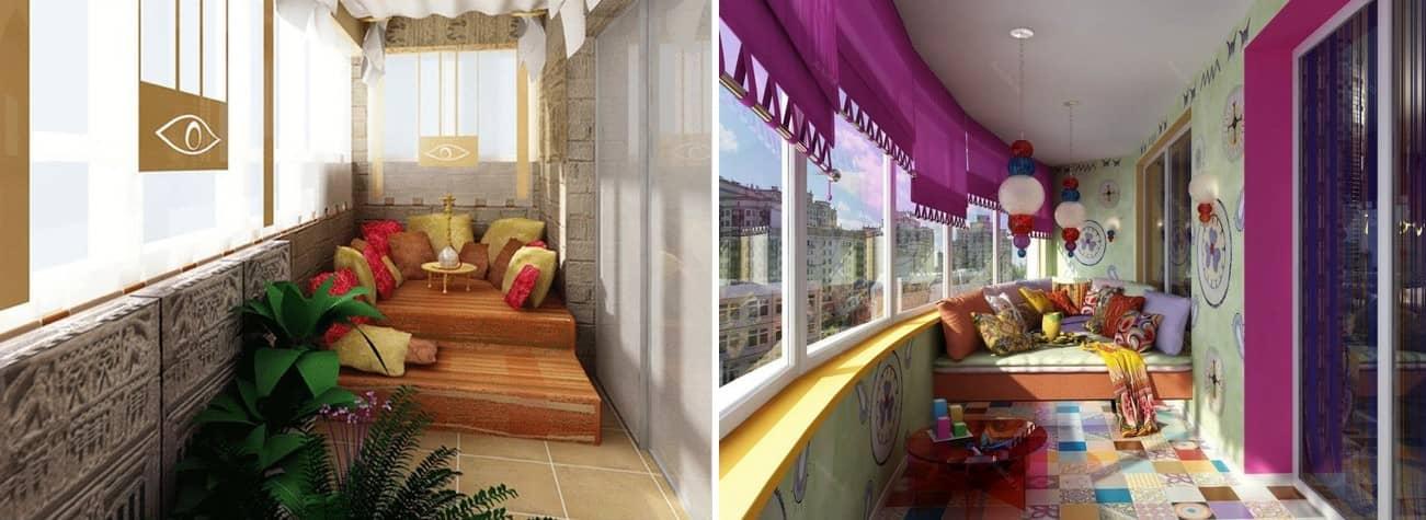 Небольшая зона отдыха на балконе