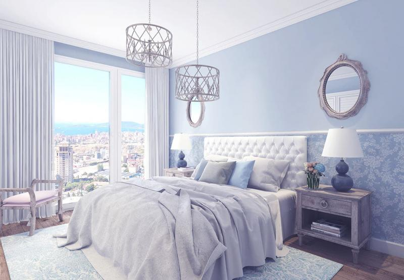 Прованские оттенки в спальне (голубой)