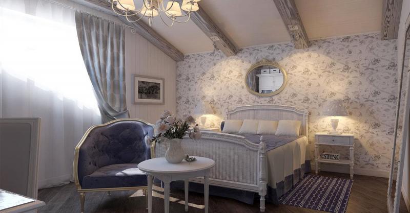 Оформление потолка в прованской спальне 4