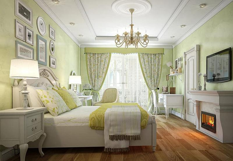 Оформление потолка в прованской спальне 3
