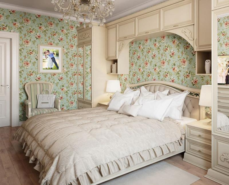 Светлая палитра оттенков прованской спальни 4