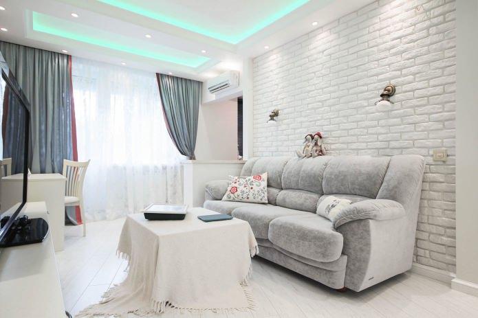 белый кирпич в интерьере гостиной