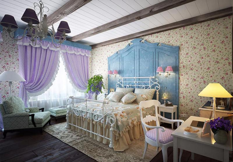 Принты в прованской спальне 3