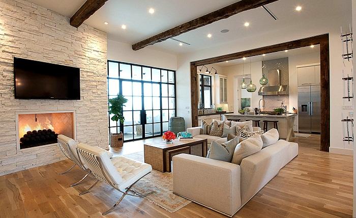 Белый кирпич в интерьере гостиной, фото 26