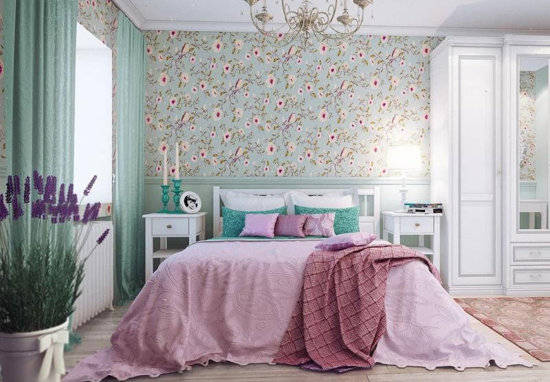 Отделка стен в спальне прованс 5
