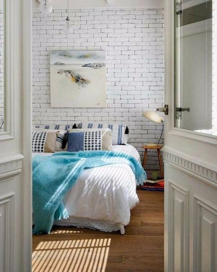Обои под белый кирпич в интерьере спальне,  фото 16