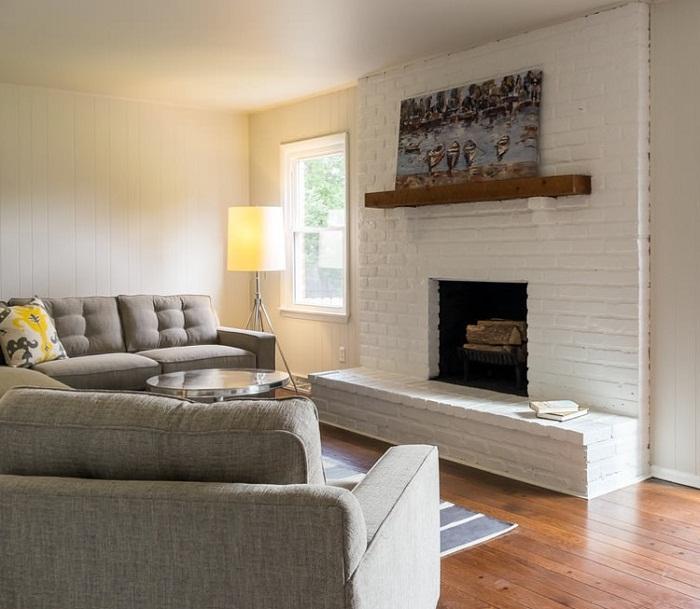 Белый декоративный кирпич в интерьере, фото 6