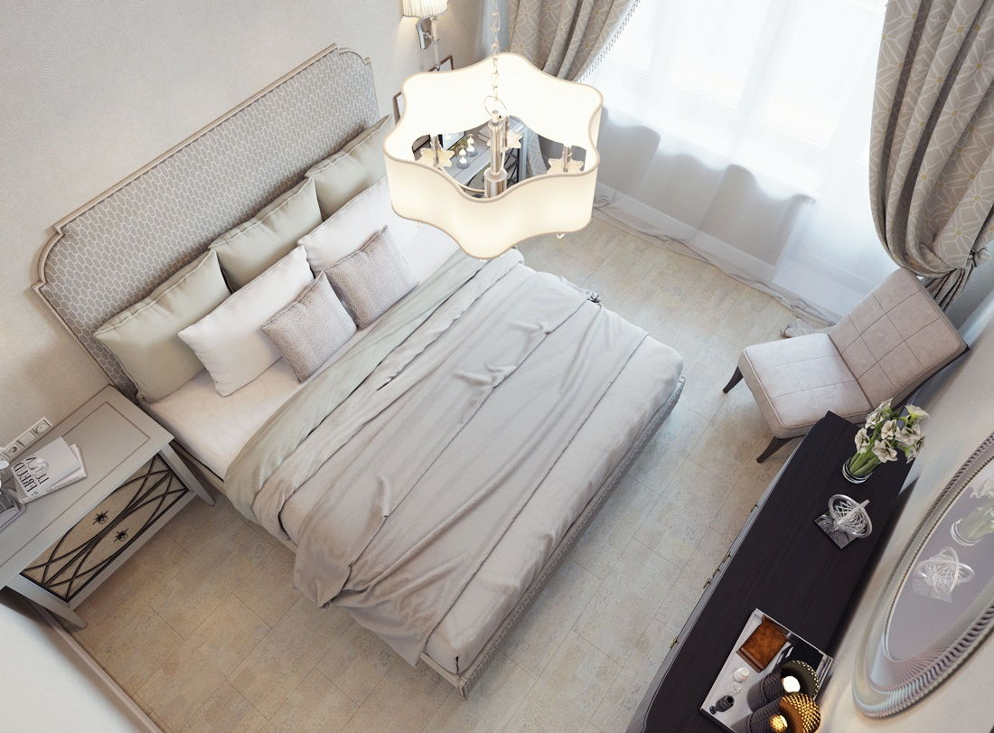 Светлый пол в спальне-прованс