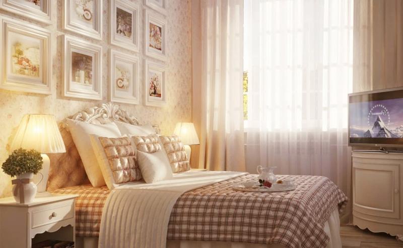 Светлая палитра оттенков прованской спальни 5