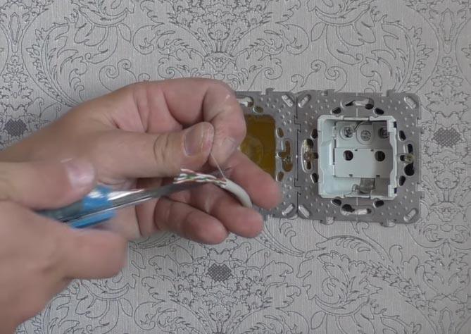 срезание капроновой нитки в кабеле utp 5e