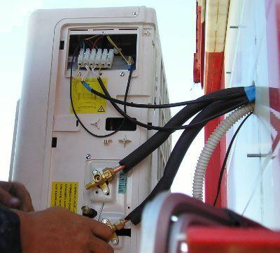 Подсоединение проводов к наружному блоку кондиционера