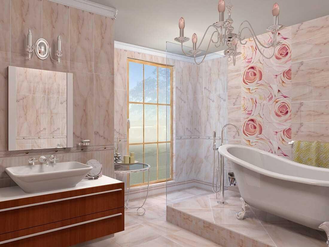 вариант красивого стиля ванной комнаты