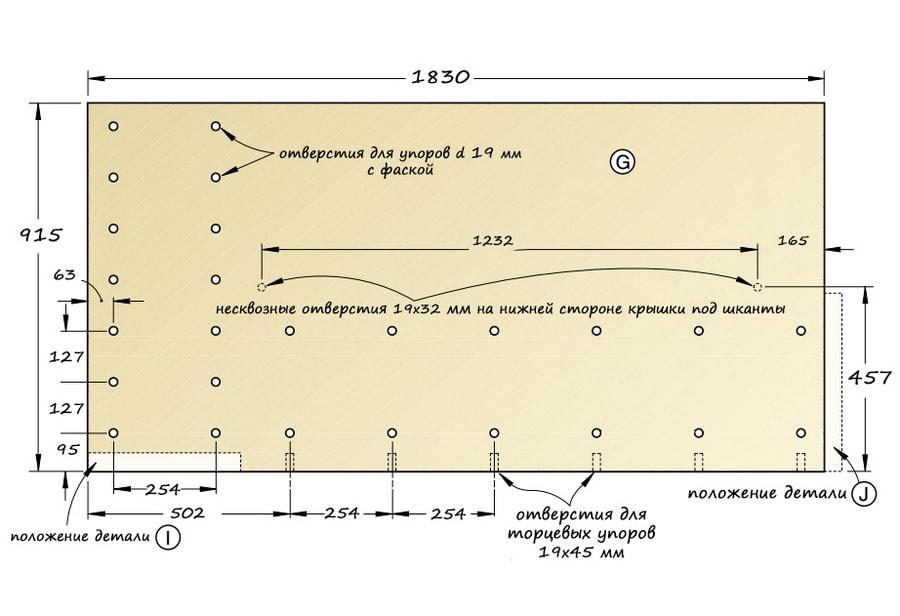Схема крышки столярного верстака с размерами.