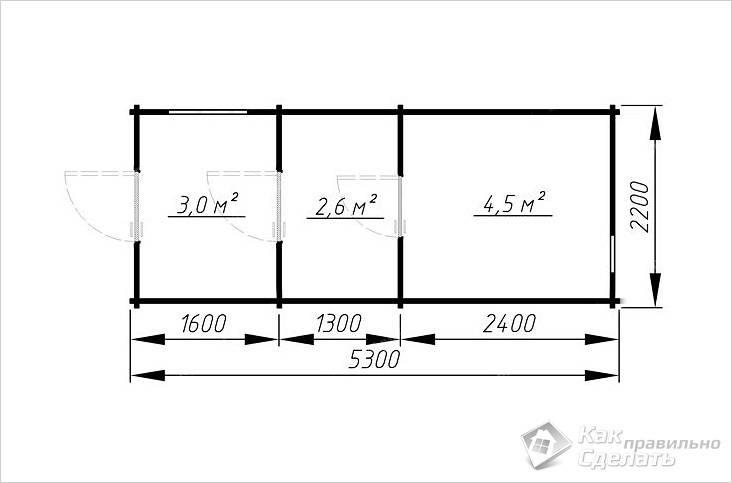 Мобильная баня 5.3×2.2 из проф. бруса со входом с торца