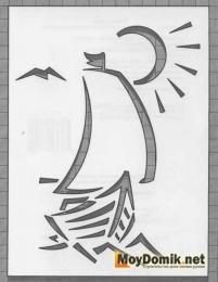 Эскиз наличников на окна - кораблик