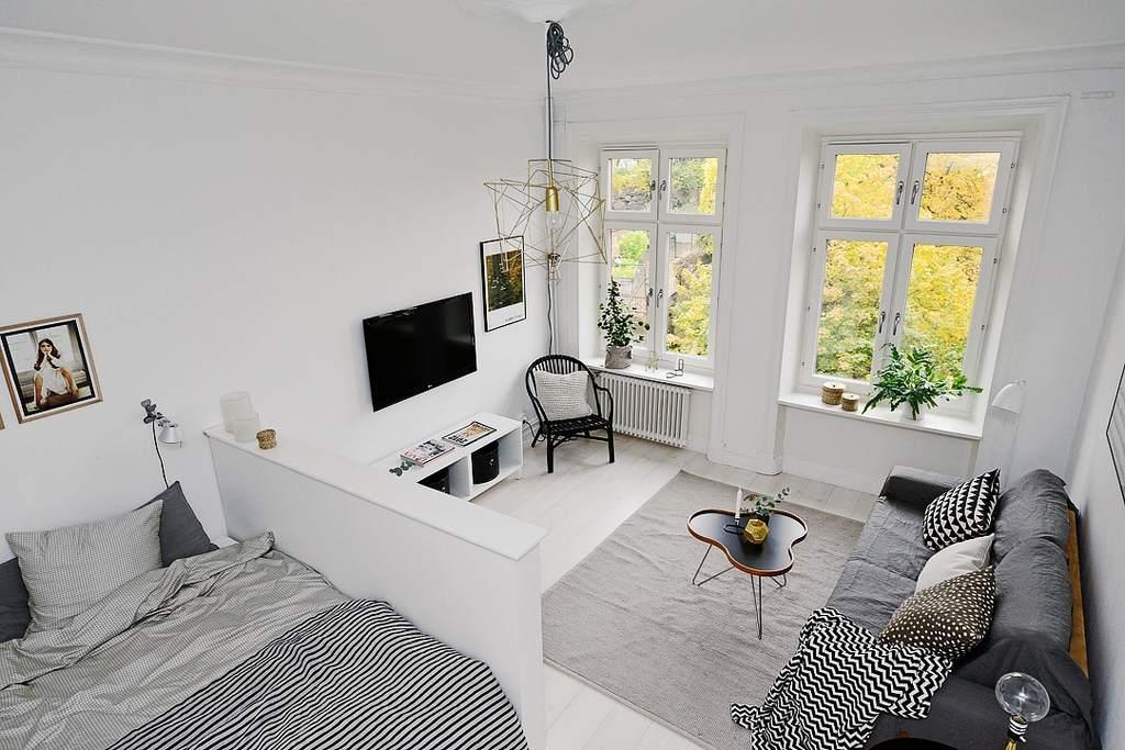 Скандинавский интерьер в однокомнатной квартире