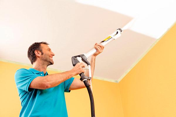 Как покрасить краскопультом потолок и стены?