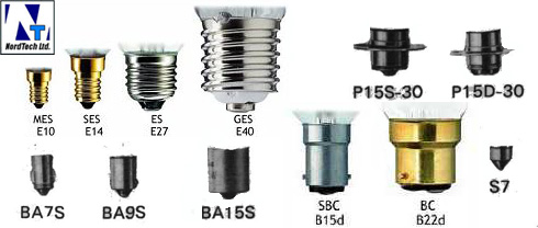 Разновидности цоколей для ламп
