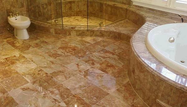 Пол из натурального камня в ванной, фото 43