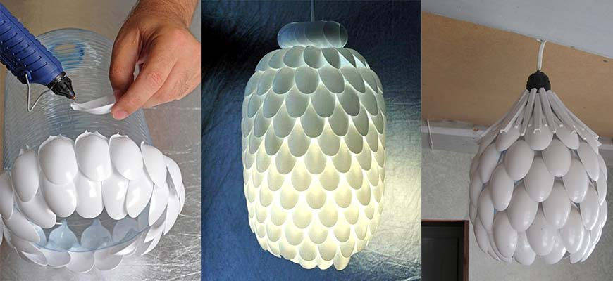 Интересная идея люстры из пластмассовых ложек