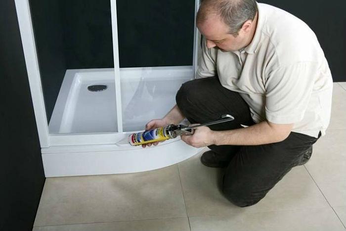 Монтаж сливного отверстия для душевого поддона из керамики