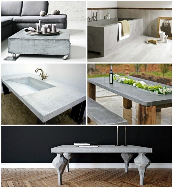 Бетон в кухонной мебели