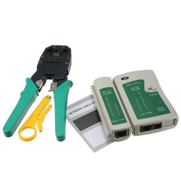 дешевый набор инструмента для прозвонки и разделки интернет кабеля UTP