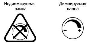 значки обозначения диммируется светодиодная лампа или нет