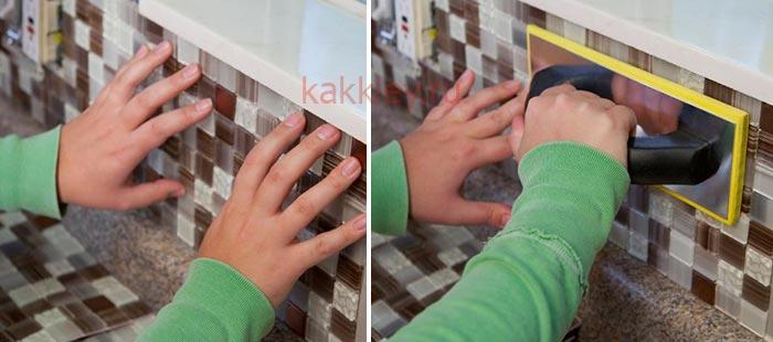 Инструкция как приклеить мозайку на сетке к стене