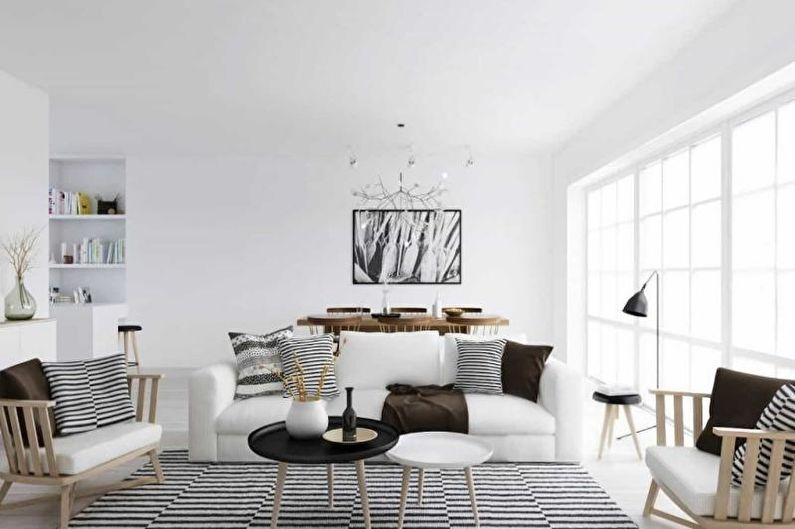 Гостиная - Дизайн квартиры в скандинавском стиле