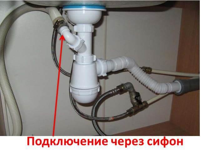подсоединение машинки к канализации через сифон