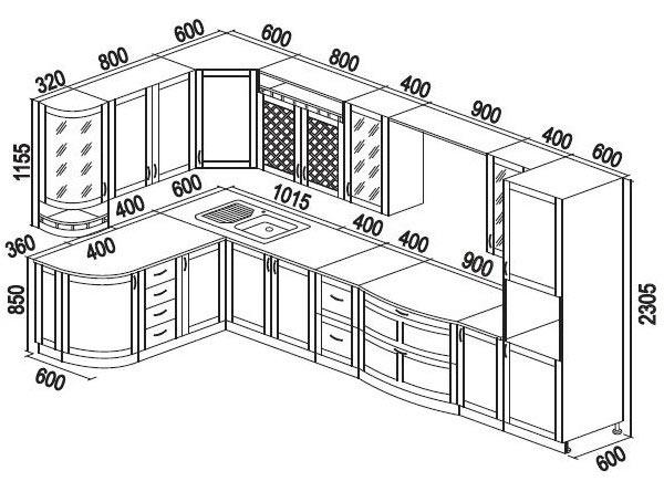 чертеж кухонный шкаф