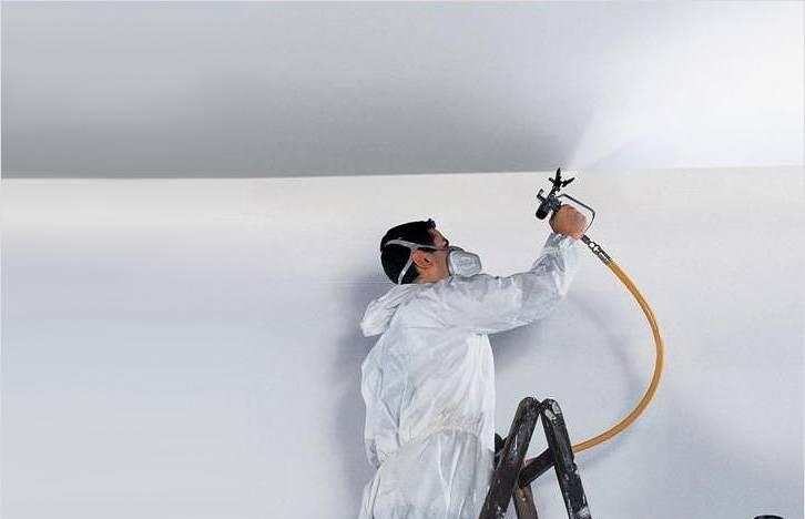 Преимущества использования краскопульта при покраске потолка