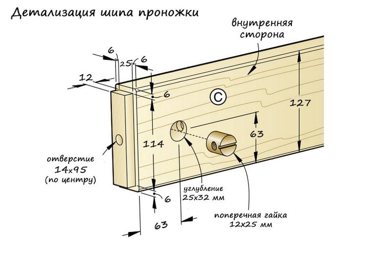 Детализация шипа проножки столярного верстака - чертёж