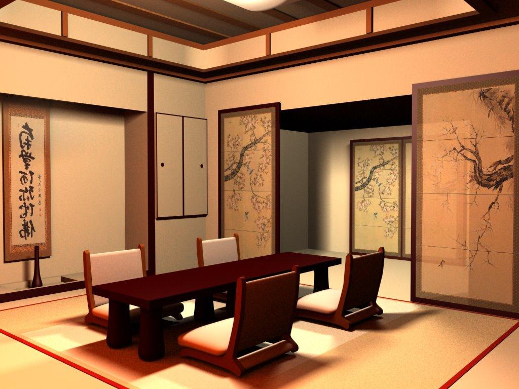 яркий интерьере квартиры в японском стиле